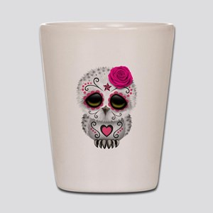 Pink Day of the Dead Sugar Skull Owl Shot Glass