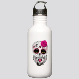 Pink Day of the Dead Sugar Skull Owl Water Bottle