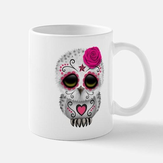 Pink Day of the Dead Sugar Skull Owl Mugs
