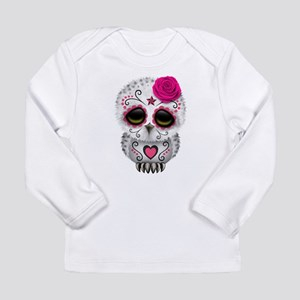 Pink Day of the Dead Sugar Skull Owl Long Sleeve T