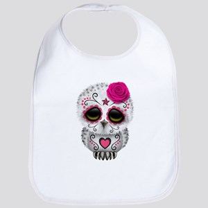Pink Day of the Dead Sugar Skull Owl Bib