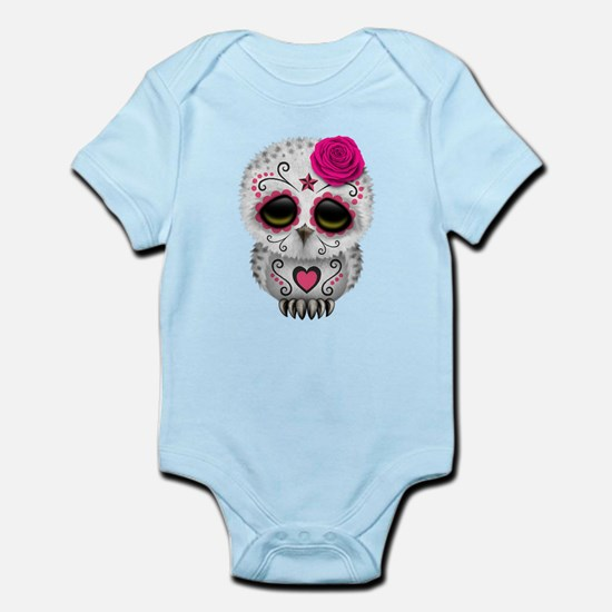 Pink Day of the Dead Sugar Skull Owl Body Suit