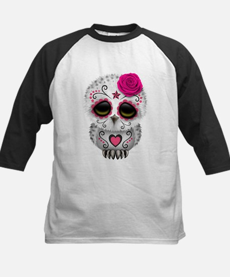 Pink Day of the Dead Sugar Skull Owl Baseball Jers