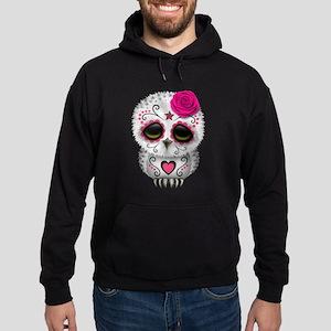 Pink Day of the Dead Sugar Skull Owl Hoodie