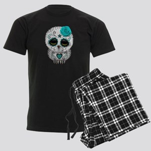 Cute Teal Blue Day of the Dead Sugar Skull Owl paj