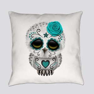 Cute Teal Blue Day of the Dead Sugar Skull Owl Eve