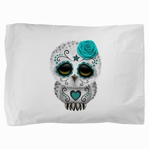 Cute Teal Blue Day of the Dead Sugar Skull Owl Pil