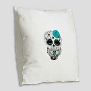 Cute Teal Blue Day of the Dead Sugar Skull Owl Bur