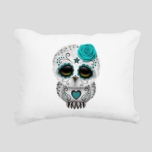 Cute Teal Blue Day of the Dead Sugar Skull Owl Rec