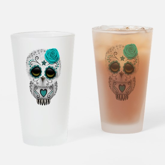 Cute Teal Blue Day of the Dead Sugar Skull Owl Dri