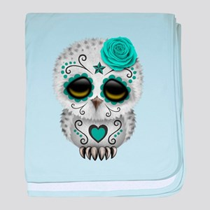 Cute Teal Blue Day of the Dead Sugar Skull Owl bab