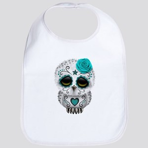 Cute Teal Blue Day of the Dead Sugar Skull Owl Bib
