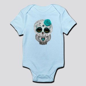 Cute Teal Blue Day of the Dead Sugar Skull Owl Bod