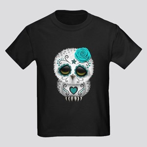 Cute Teal Blue Day of the Dead Sugar Skull Owl T-S