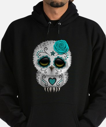 Cute Teal Blue Day of the Dead Sugar Skull Owl Hoo