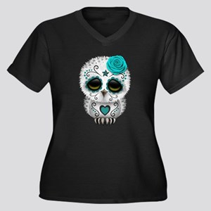 Cute Teal Blue Day of the Dead Sugar Skull Owl Plu