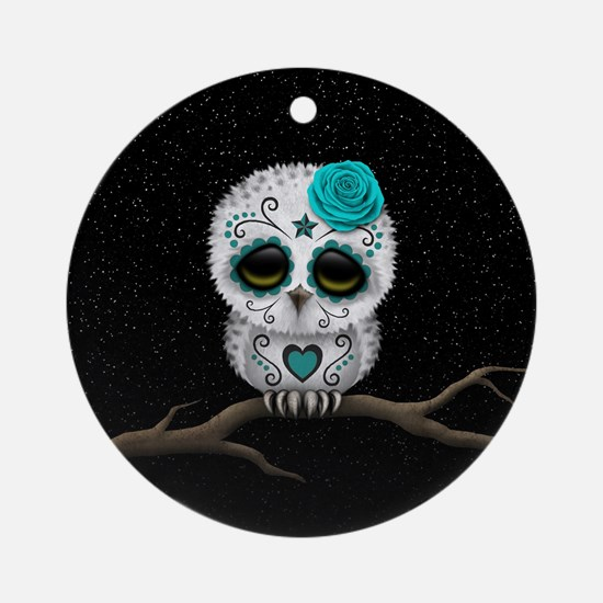 Cute Teal Blue Day of the Dead Sugar Skull Owl Rou