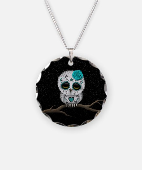 Cute Teal Blue Day of the Dead Sugar Skull Owl Nec