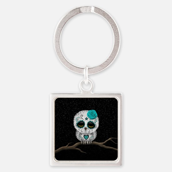 Cute Teal Blue Day of the Dead Sugar Skull Owl Key