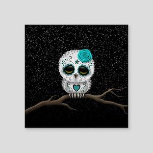 Cute Teal Blue Day of the Dead Sugar Skull Owl Sti