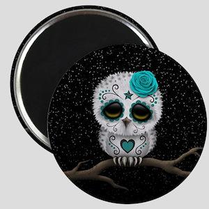 Cute Teal Blue Day of the Dead Sugar Skull Owl Mag