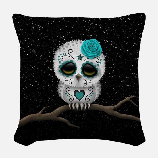 Cute Teal Blue Day of the Dead Sugar Skull Owl Wov