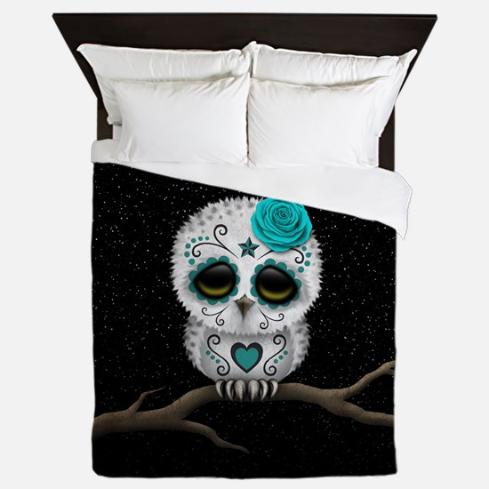 Cute Teal Blue Day of the Dead Sugar Skull Owl Que
