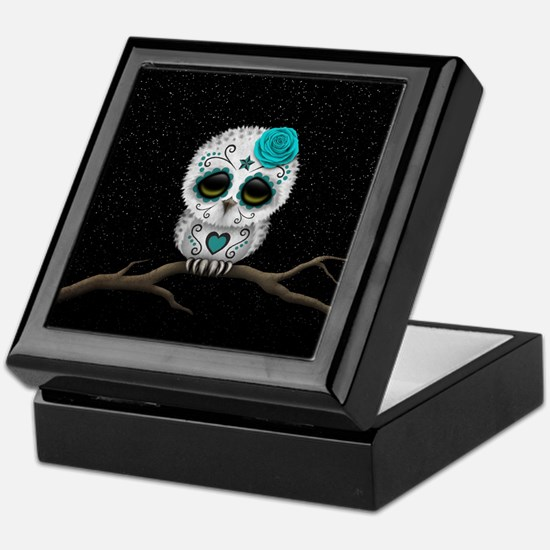Cute Teal Blue Day of the Dead Sugar Skull Owl Kee