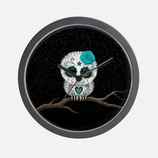 Cute Teal Blue Day of the Dead Sugar Skull Owl Wal
