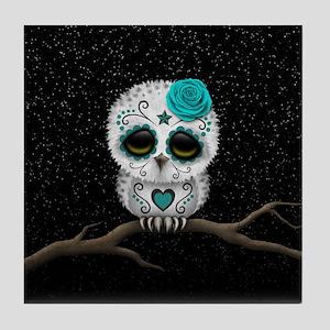 Cute Teal Blue Day of the Dead Sugar Skull Owl Til