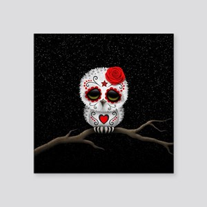 Red Day of the Dead Sugar Skull Owl Sticker