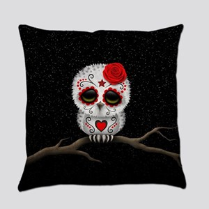 Red Day of the Dead Sugar Skull Owl Everyday Pillo