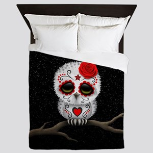 Red Day of the Dead Sugar Skull Owl Queen Duvet
