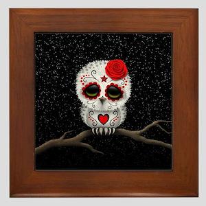 Red Day of the Dead Sugar Skull Owl Framed Tile