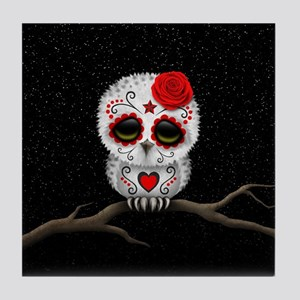 Red Day of the Dead Sugar Skull Owl Tile Coaster