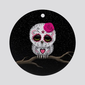 Pink Day of the Dead Sugar Skull Owl Round Ornamen