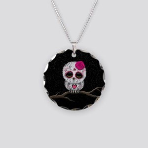Pink Day of the Dead Sugar Skull Owl Necklace Circ