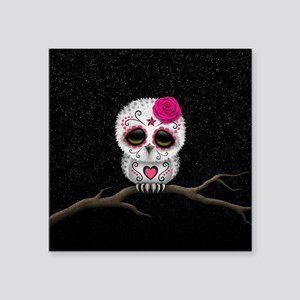 Pink Day of the Dead Sugar Skull Owl Sticker