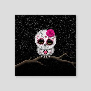 Pink Day of the Dead Sugar Skull Owl Sticker