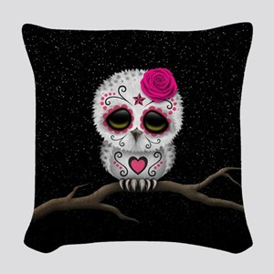 Pink Day of the Dead Sugar Skull Owl Woven Throw P