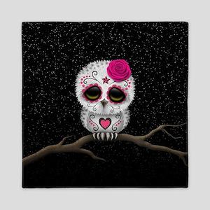 Pink Day of the Dead Sugar Skull Owl Queen Duvet