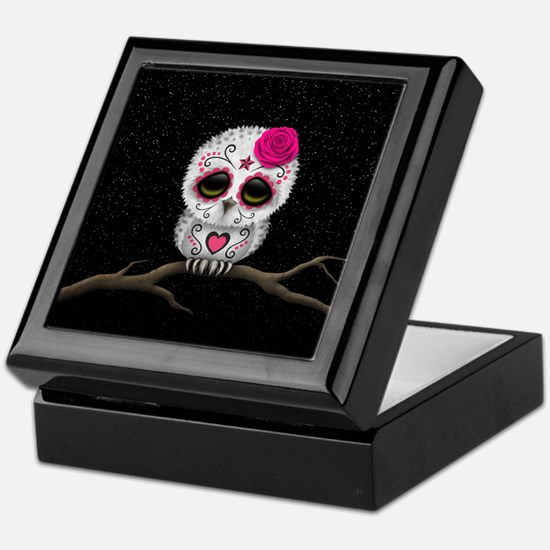 Pink Day of the Dead Sugar Skull Owl Keepsake Box
