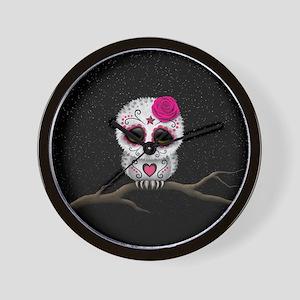Pink Day of the Dead Sugar Skull Owl Wall Clock
