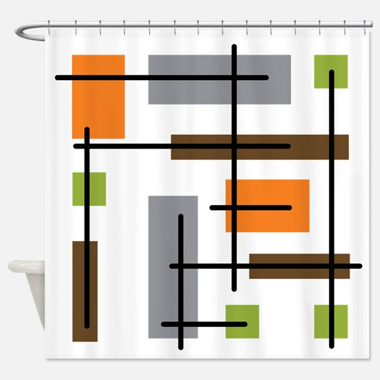 Cubicle Atomic Era Art Shower Curtain