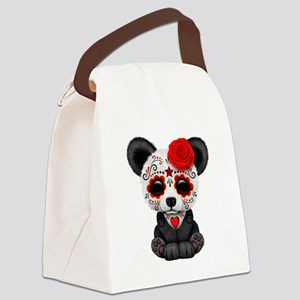 Red Day of the Dead Sugar Skull Panda Canvas Lunch