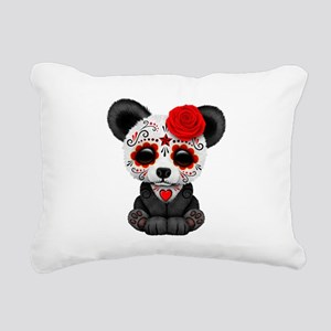 Red Day of the Dead Sugar Skull Panda Rectangular
