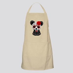 Red Day of the Dead Sugar Skull Panda Apron