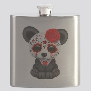Red Day of the Dead Sugar Skull Panda Flask