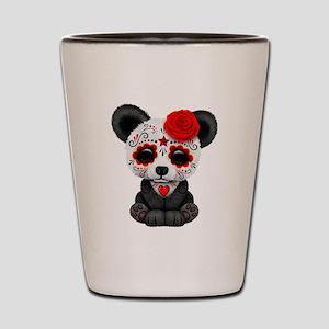 Red Day of the Dead Sugar Skull Panda Shot Glass