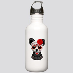 Red Day of the Dead Sugar Skull Panda Water Bottle